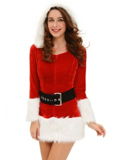 Three Pieces Long Sleeve Hooded Fluff Womens Christmas Day Outfits for Sale