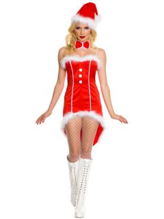 Three Pieces Women High-low Hemline Strapless Santa Tuxedo Dress Costume