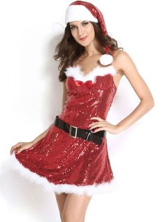 Three Pieces Women Sexy & Sparkly Sequined Santa Dress with Marabou Trims
