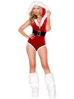 Two Pieces Velvet Hooded High Cut Legs Christmas Romper Costume for Women
