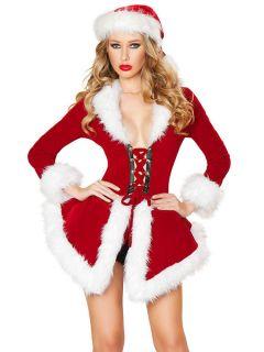 Two Pieces Velvet Long Sleeves Deluxe Christmas Dress Coat Costume Women