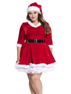 2 Pieces Half Sleeves Sweetheart Santa Dress for Plus Size Women