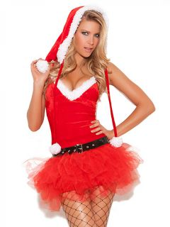2 Pieces Santa Helper Cute Christmas Tutu Costume Dress for Women