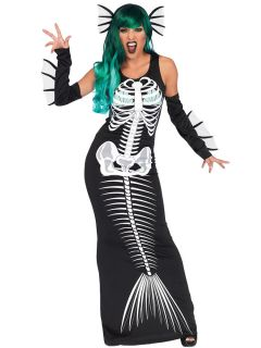 3 Pieces Sleeveless Skeleton Printing Womens Halloween Siren Costumes