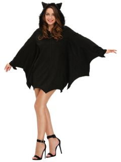 Long Scalloped Edging Trims Batwing Sleeves Hooded Women Bat Costumes