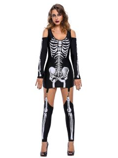 X-rayed Boney Cold Shoulder Long Sleeves Skeleton Halloween Dress Womens