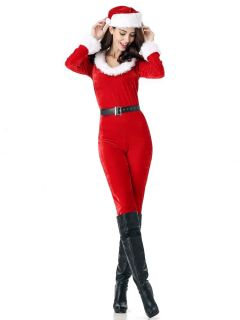 3 Pieces Long Sleeves Xmas Party Jumsuits Costumes for Women