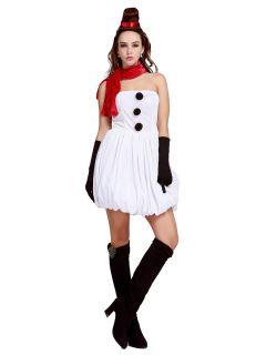 4 Pieces Adorable Strapless Women Santa Bubble Dress for Christmas