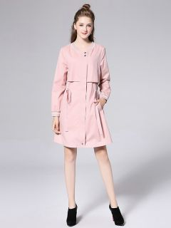 Chic Long Sleeves Zipper Closure Layered Long Trench Coat for Women