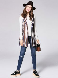 Single Button Closure Striped Sleeveless Fashion Waistcoat for Women