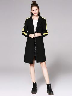 Single Button Striped Long Sleeve Rib-knit Cuffs Womens Long Wool Coat