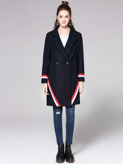 Two Buttons Double Breasted Long Sleeve Womens Striped Long Wool Coats