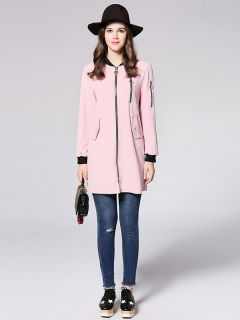 Zipper Closure Long Sleeves Applique Women Casual Jacket for Autumn
