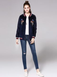 Zipper Closure Long Sleeves Thick Applique & Pleated Women Bomber Jacket