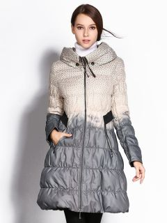 A-line Double Layered Collar Polka Dots Printed Ladies Long Down Coat