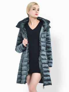 Cheap Two Way Zipper Long Parka Coat with Detachable Hood for Women