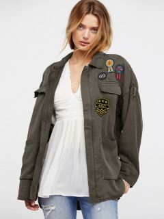 Long Sleeves Zipper Closure Badge Embroidery Womens Spring Military Coat