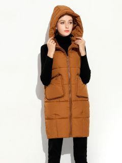 Loose Fit Hooded Zipper Thick Warm Puffer Long Waistcoat for Women