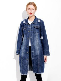 Loose Fit Single-breasted Distressed & Ripped Long Denim Jacket Women