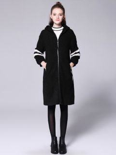 Loose Fit Zipper Long Sleeves Striped Long Hooded Outerwear for Women