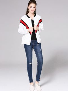 Loose Fit Zipper Stripe Printing Long Sleeve Jacket Outerwear for Women