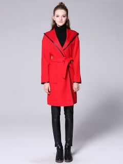 Open Front Long Sleeves Hooded Women Long Wrap Coat with Patch Pockets