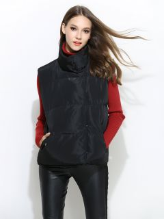 Press Studs Closure Loose Fit Thick Puffer Warm Women Outerwear Vests