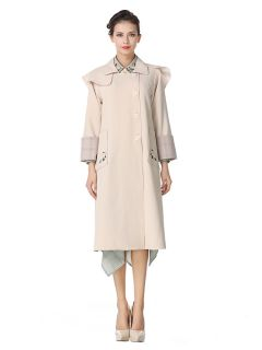 Single-breasted Embroidery Layered Long Spring Trench Coat for Women