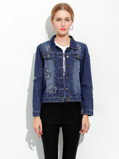 Single Breasted Long Sleeves Pentacle Ripped Spring Denim Jacket Women