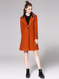 Single Button Long Sleeves Striped Rib-knit Long Women Woolen Jackets