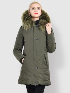 Slim Fit Faux Fur Hooded Zipper & Buttons Thick Ladies Winter Parkas