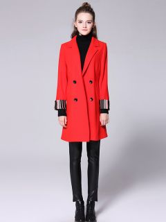 Striped Long Sleeves Double-breasted Draped Long Women Wool Pea Coat