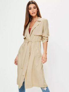 Stylish Layered Drawstring Closure Spring Long Wrap Trench Coat for Women