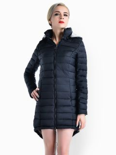 Two-way Zipper Asymmetric Hemline Hooded Spring Parka Coat for Women