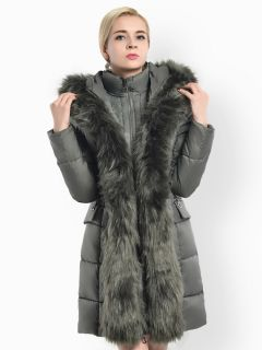 Two-way Zipper Long Deluxe Thick Faux Fur Hooded Women Down Parka Coat