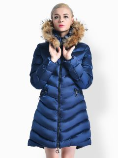 Two Way Zipper Thick Long Parka Coat with Raccoon Fur Hood for Women