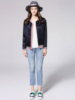Zipper Closure Long Sleeves Relaxed Fit Autumn Bomber Jacket for Women