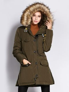 Zipper & Single Breasted Slim-fit Fox Fur Hooded Thick Parka Women Coat