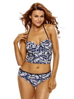 cf2f6e474a Halter Neckline Bra Padding and Underwired Printed Longline Tankini Swimwear  Set