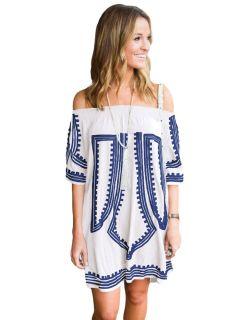 af0cee522b6 Bohemian Inspired Vibe Geometric Printed Off Shoulder Half Sleeves Beach  Dress